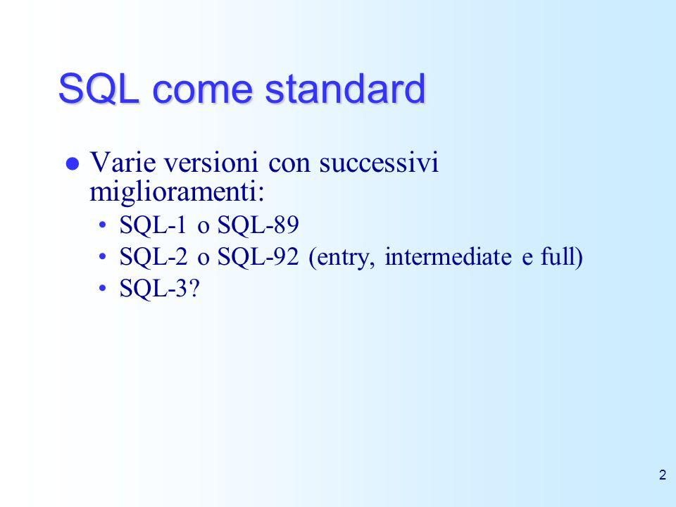 SQL come standard Varie versioni con successivi miglioramenti: