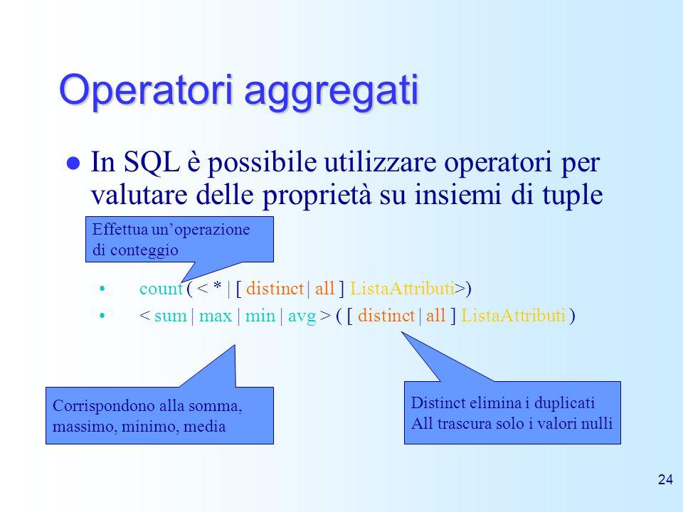Operatori aggregati In SQL è possibile utilizzare operatori per valutare delle proprietà su insiemi di tuple.