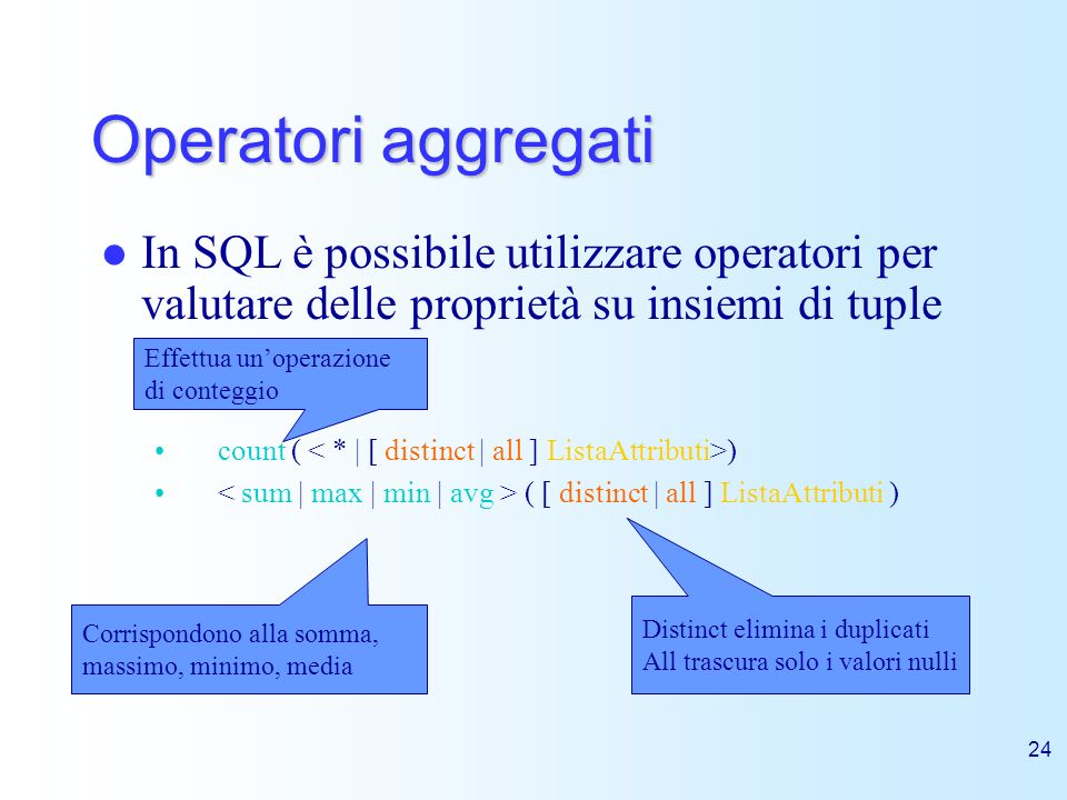 Operatori aggregatiIn SQL è possibile utilizzare operatori per valutare delle proprietà su insiemi di tuple.