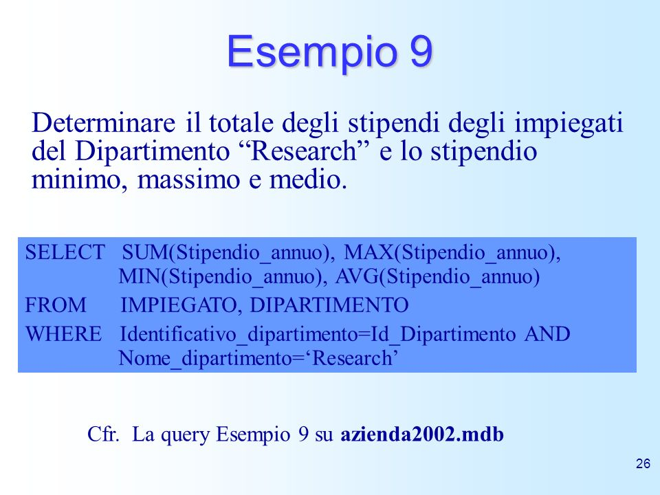 Esempio 9Determinare il totale degli stipendi degli impiegati del Dipartimento Research e lo stipendio minimo, massimo e medio.