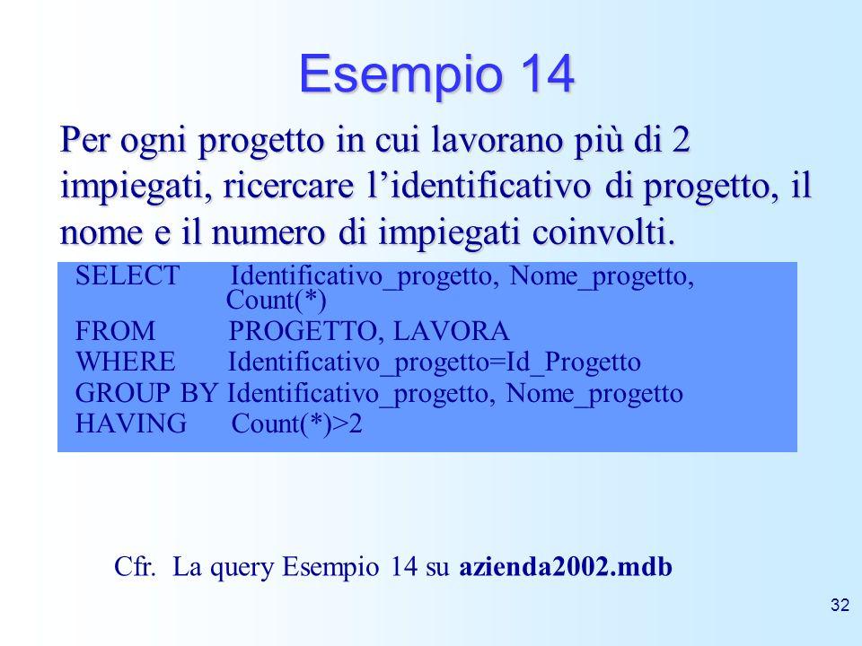 Esempio 14Per ogni progetto in cui lavorano più di 2 impiegati, ricercare l'identificativo di progetto, il nome e il numero di impiegati coinvolti.