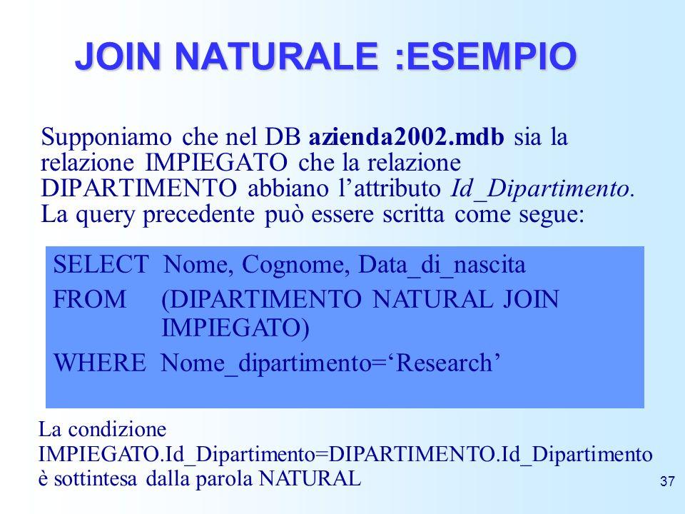 JOIN NATURALE :ESEMPIO