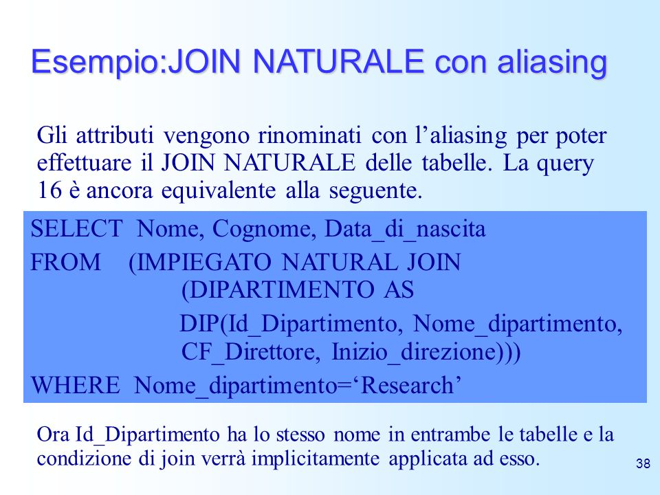 Esempio:JOIN NATURALE con aliasing