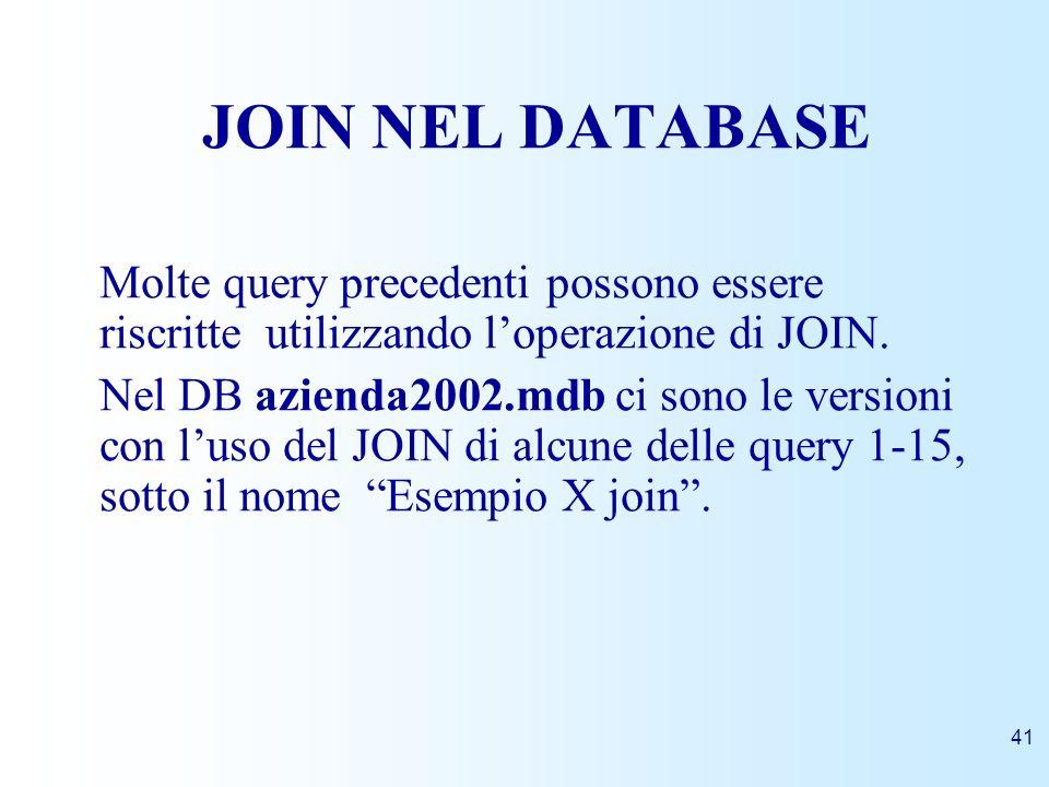 JOIN NEL DATABASEMolte query precedenti possono essere riscritte utilizzando l'operazione di JOIN.