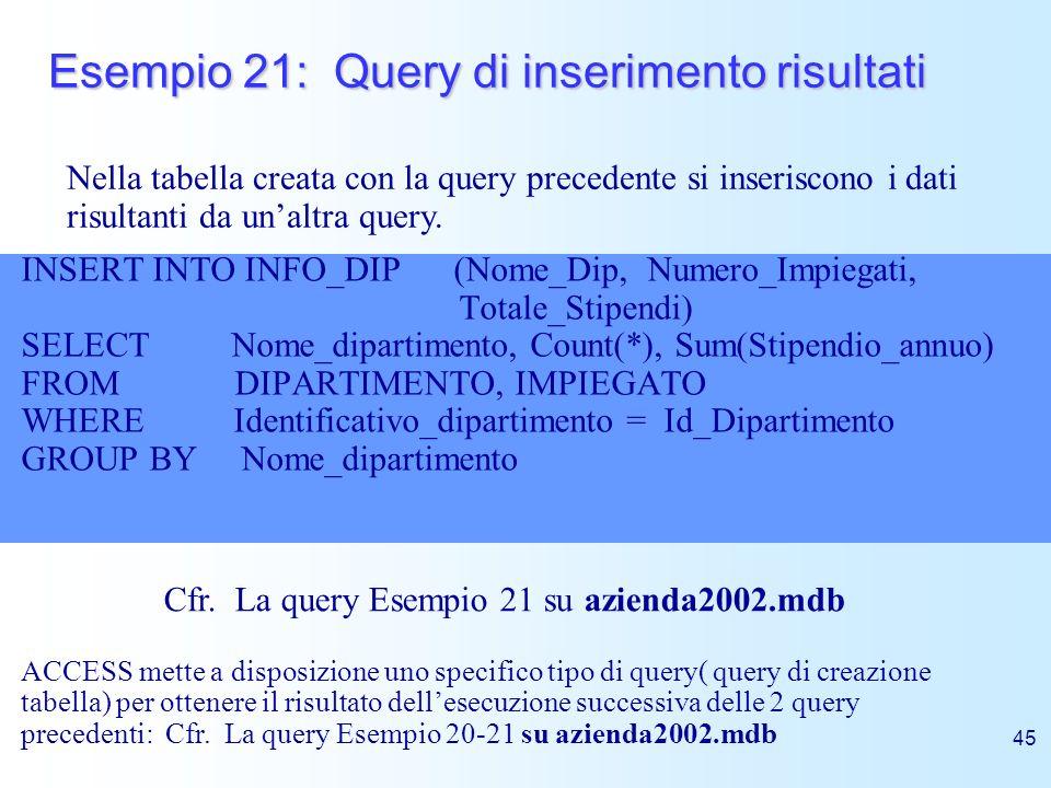 Esempio 21: Query di inserimento risultati