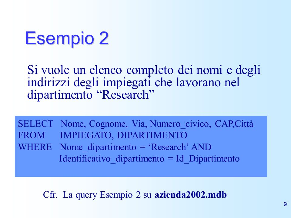 Esempio 2 Si vuole un elenco completo dei nomi e degli indirizzi degli impiegati che lavorano nel dipartimento Research