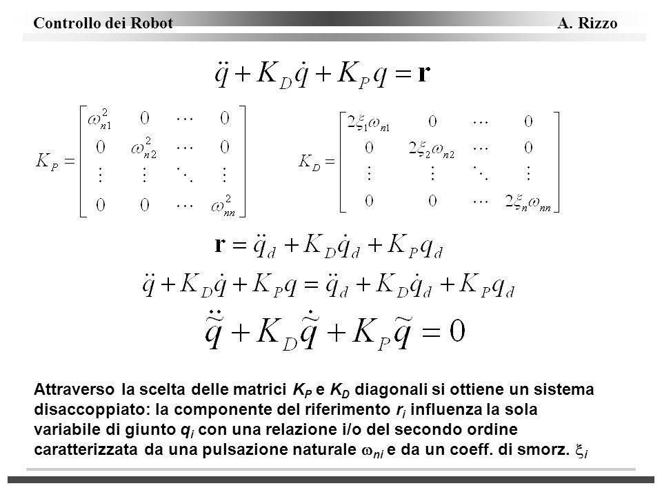 Attraverso la scelta delle matrici KP e KD diagonali si ottiene un sistema disaccoppiato: la componente del riferimento ri influenza la sola variabile di giunto qi con una relazione i/o del secondo ordine caratterizzata da una pulsazione naturale wni e da un coeff.