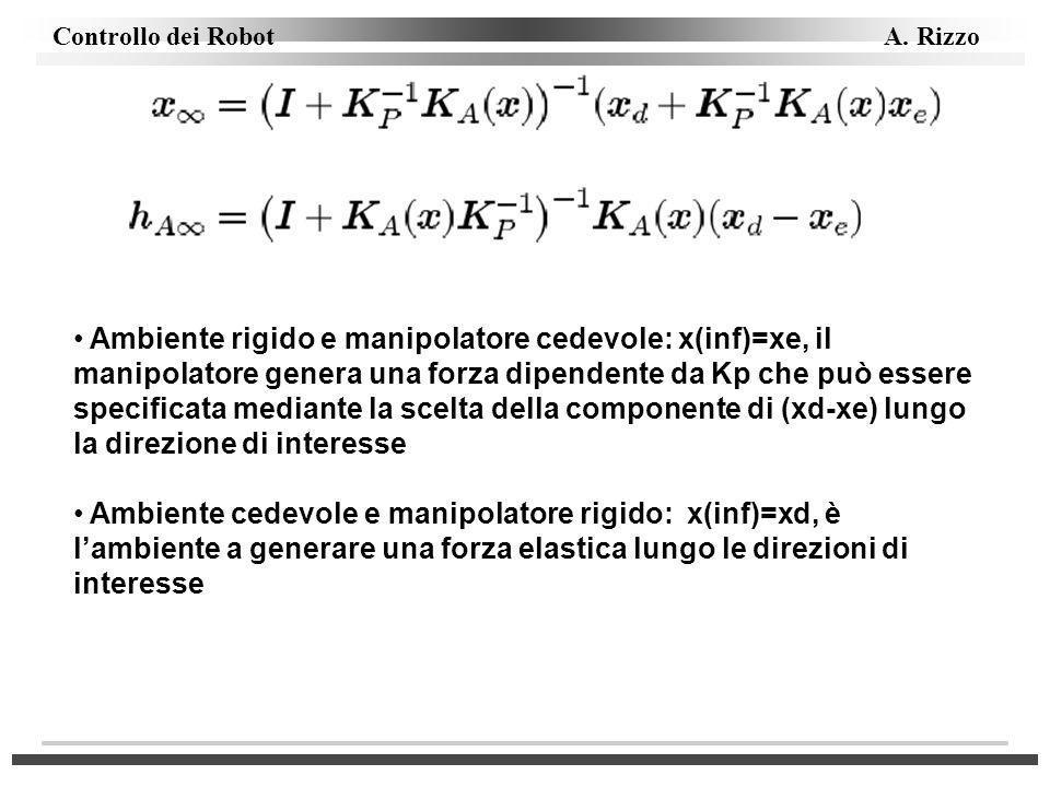 Ambiente rigido e manipolatore cedevole: x(inf)=xe, il manipolatore genera una forza dipendente da Kp che può essere specificata mediante la scelta della componente di (xd-xe) lungo la direzione di interesse