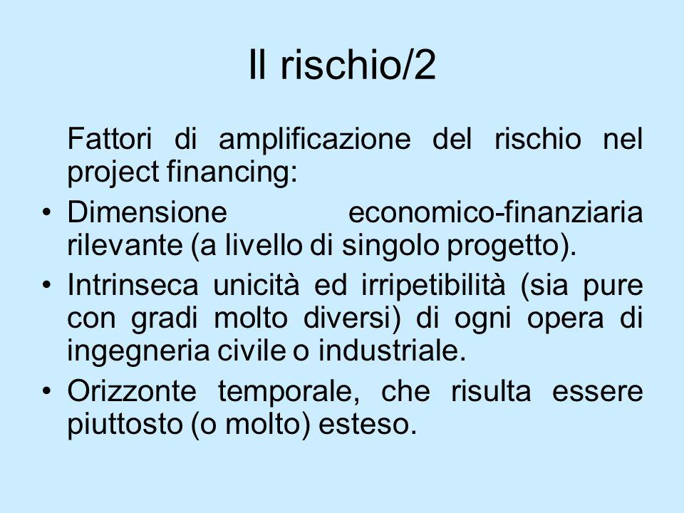 Il rischio/2Fattori di amplificazione del rischio nel project financing: Dimensione economico-finanziaria rilevante (a livello di singolo progetto).
