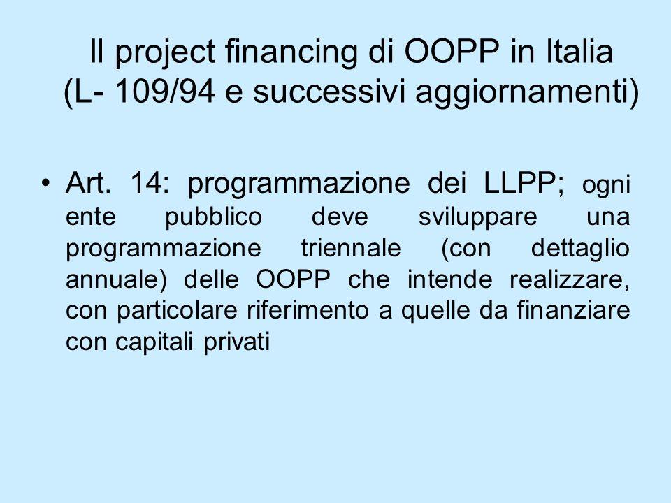 Il project financing di OOPP in Italia (L- 109/94 e successivi aggiornamenti)