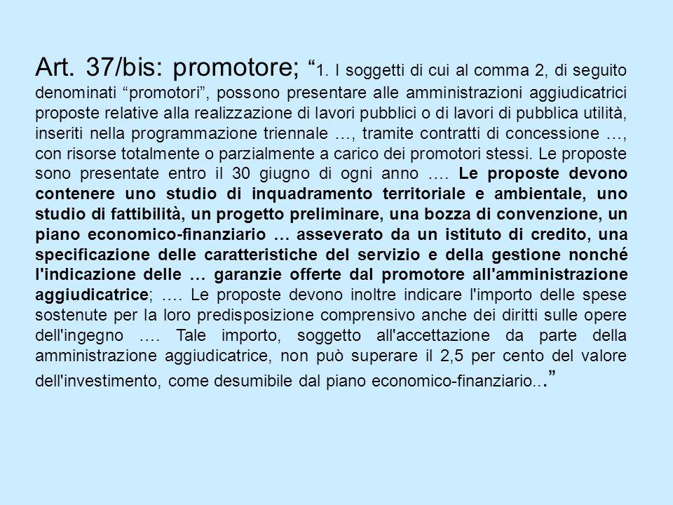 Art.37/bis: promotore; 1.