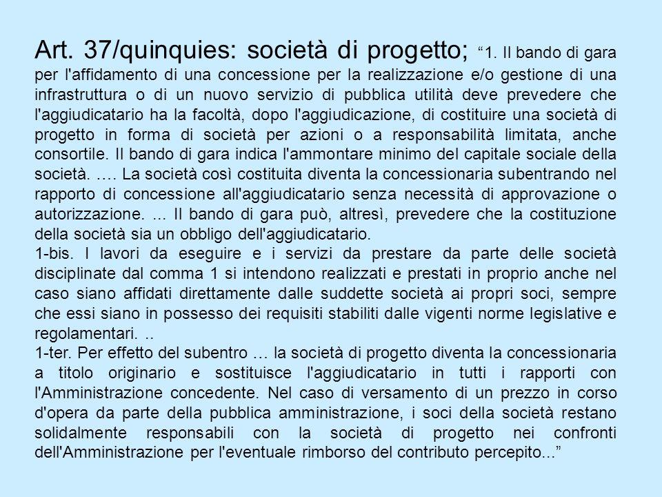 Art. 37/quinquies: società di progetto; 1