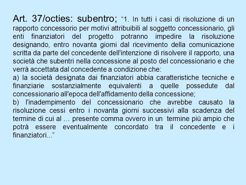 Art. 37/octies: subentro; 1