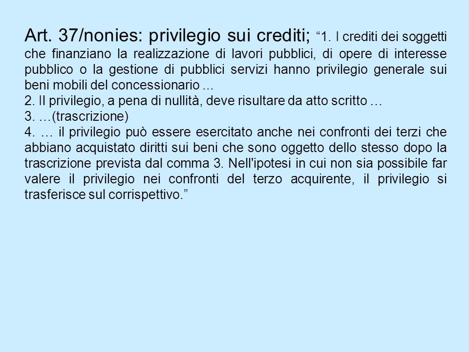 Art. 37/nonies: privilegio sui crediti; 1