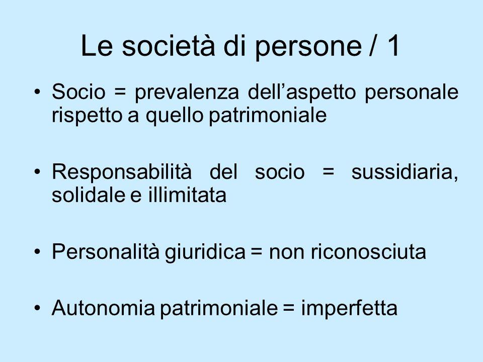 Le società di persone / 1 Socio = prevalenza dell'aspetto personale rispetto a quello patrimoniale.