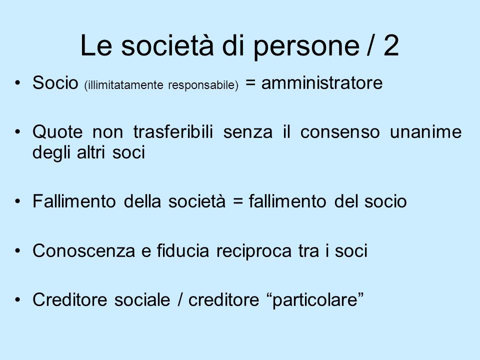 Le società di persone / 2Socio (illimitatamente responsabile) = amministratore. Quote non trasferibili senza il consenso unanime degli altri soci.