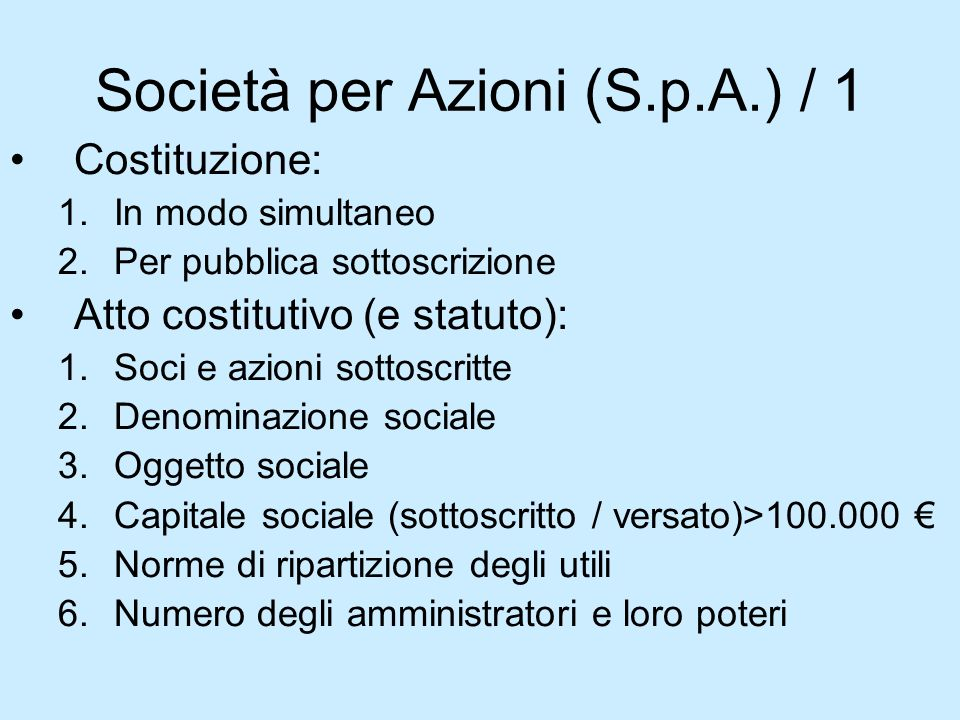 Società per Azioni (S.p.A.) / 1