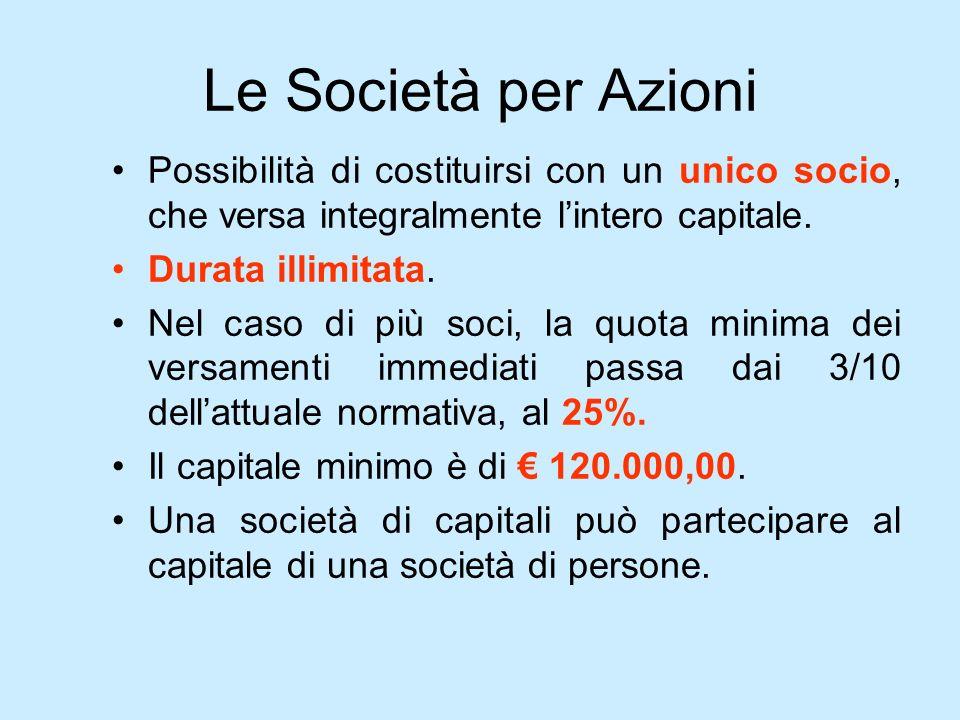 Le Società per AzioniPossibilità di costituirsi con un unico socio, che versa integralmente l'intero capitale.