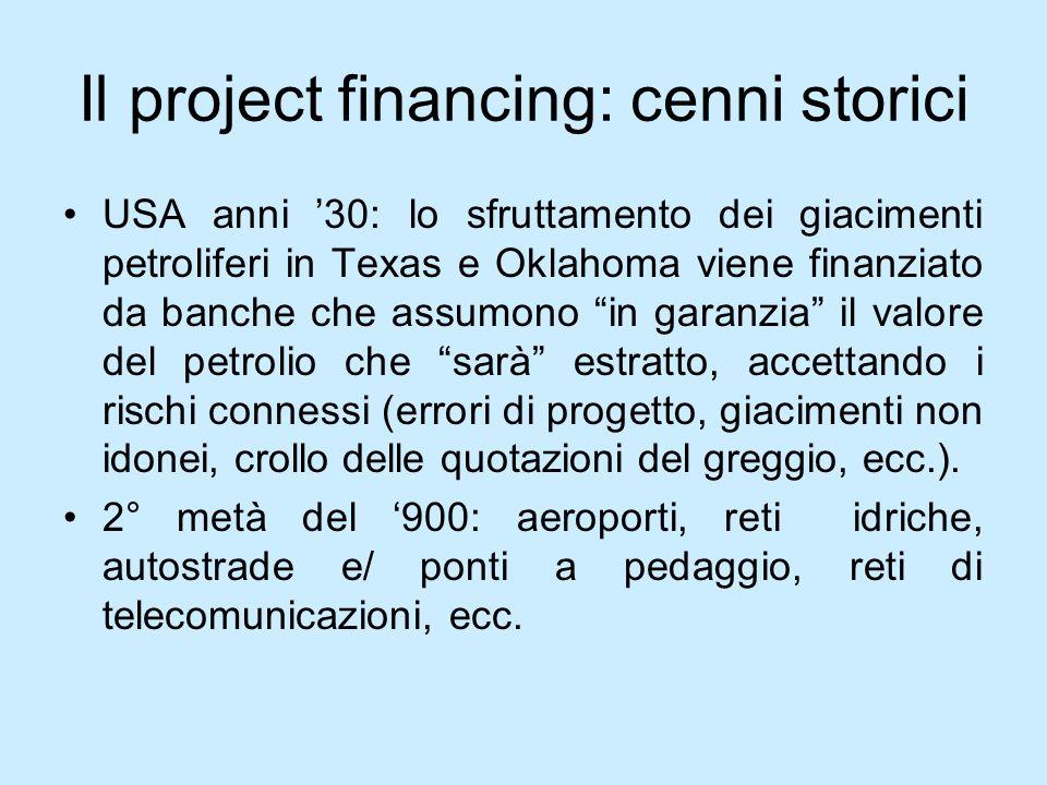 Il project financing: cenni storici