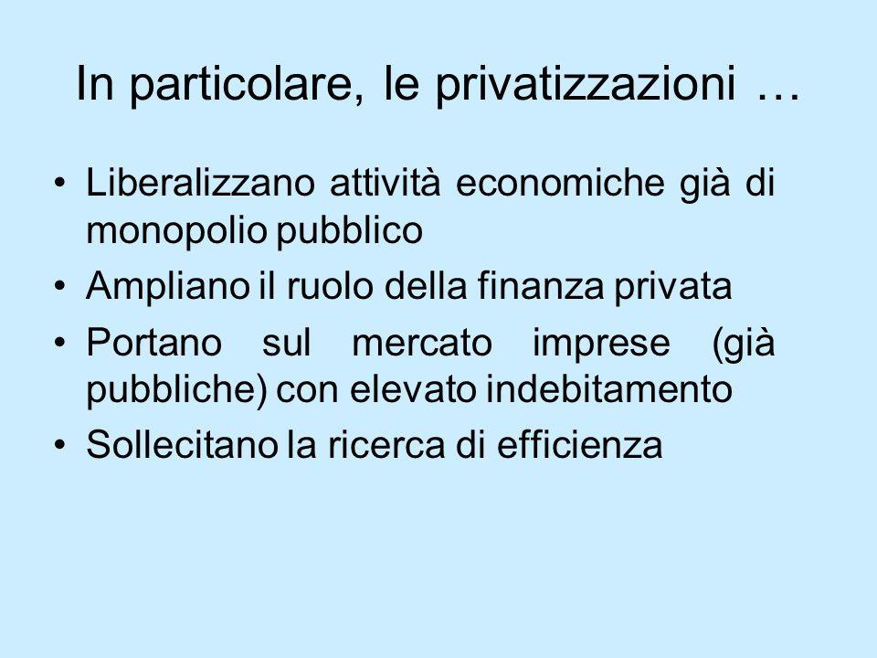 In particolare, le privatizzazioni …