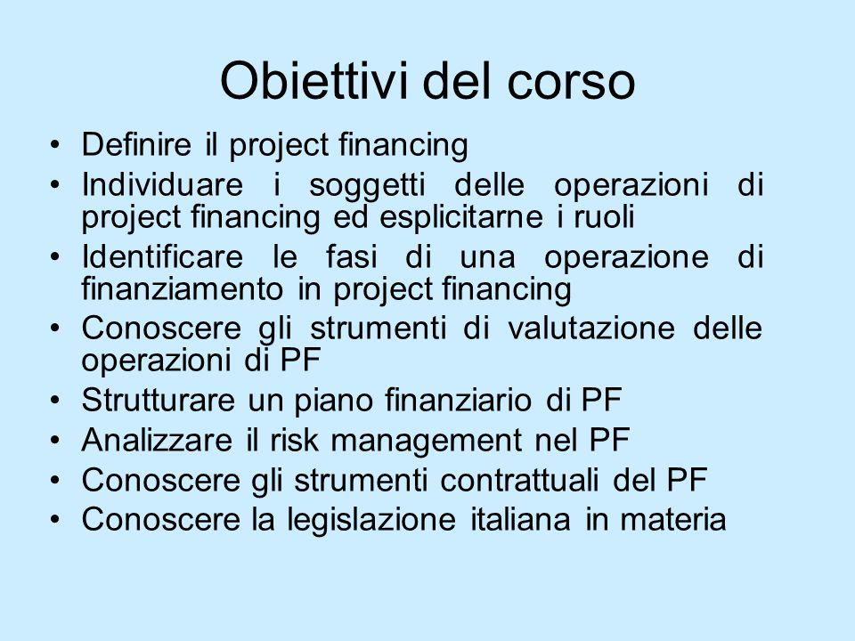 Obiettivi del corso Definire il project financing
