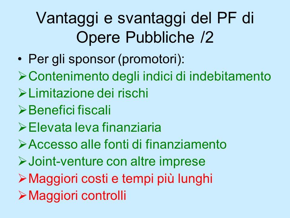 Vantaggi e svantaggi del PF di Opere Pubbliche /2