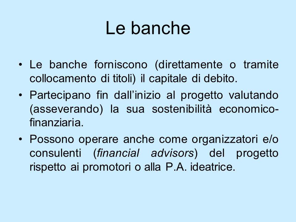 Le bancheLe banche forniscono (direttamente o tramite collocamento di titoli) il capitale di debito.