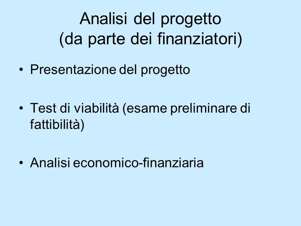 Analisi del progetto (da parte dei finanziatori)