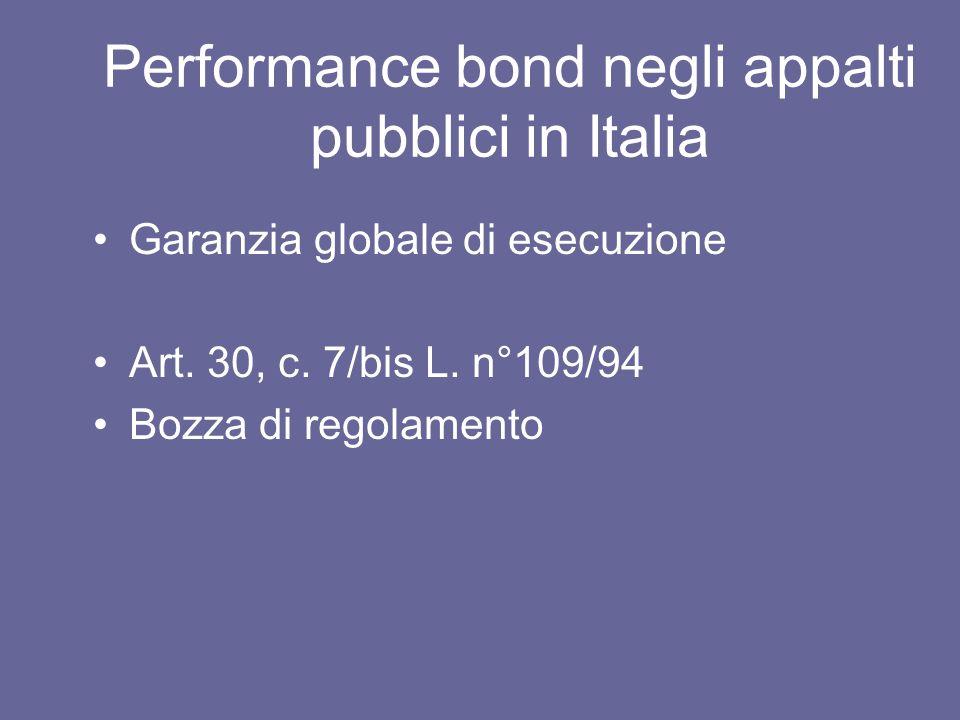Performance bond negli appalti pubblici in Italia