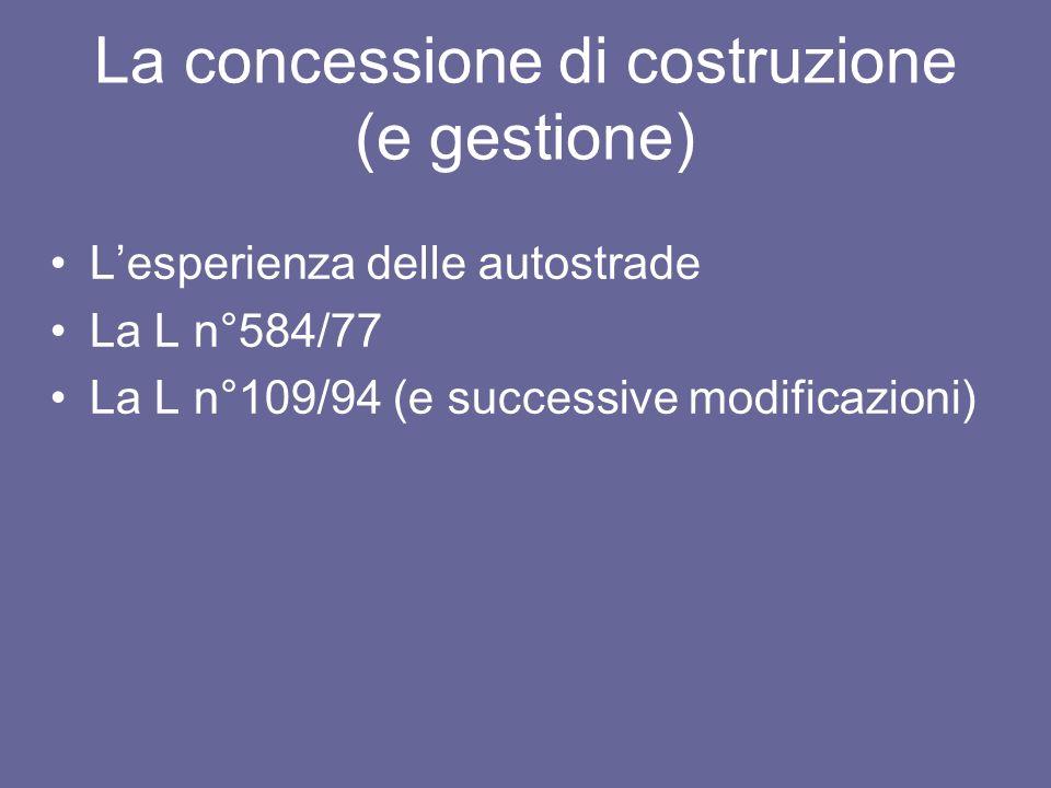 La concessione di costruzione (e gestione)