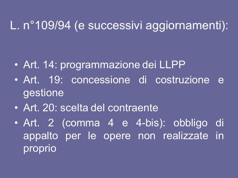 L. n°109/94 (e successivi aggiornamenti):