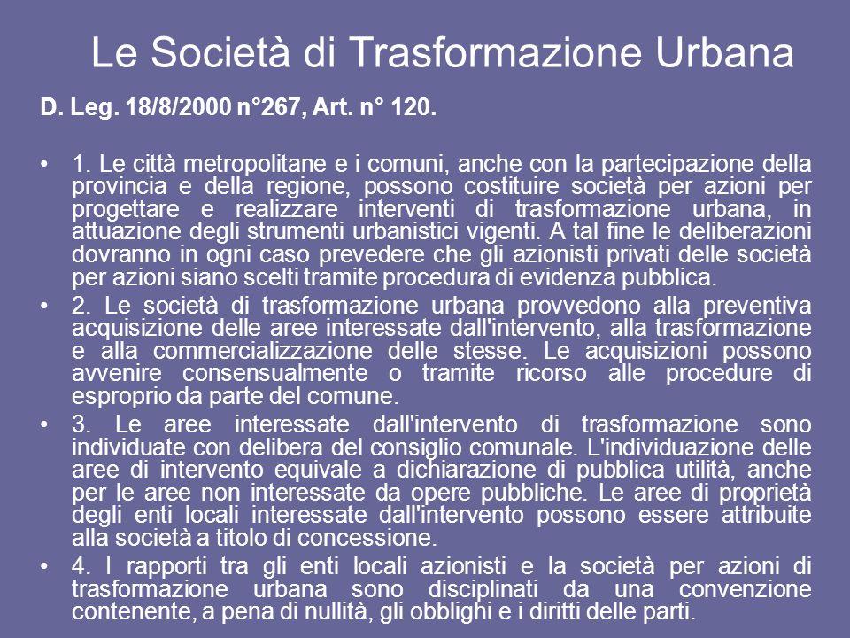 Le Società di Trasformazione Urbana
