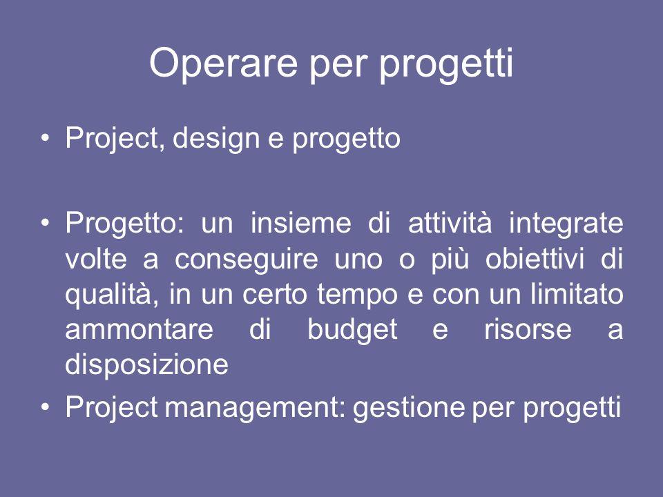 Operare per progetti Project, design e progetto