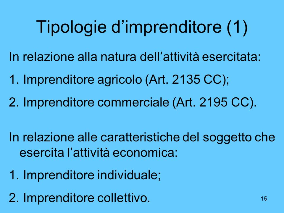 Tipologie d'imprenditore (1)