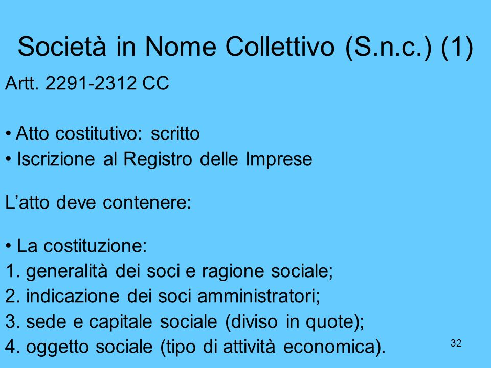 Società in Nome Collettivo (S.n.c.) (1)