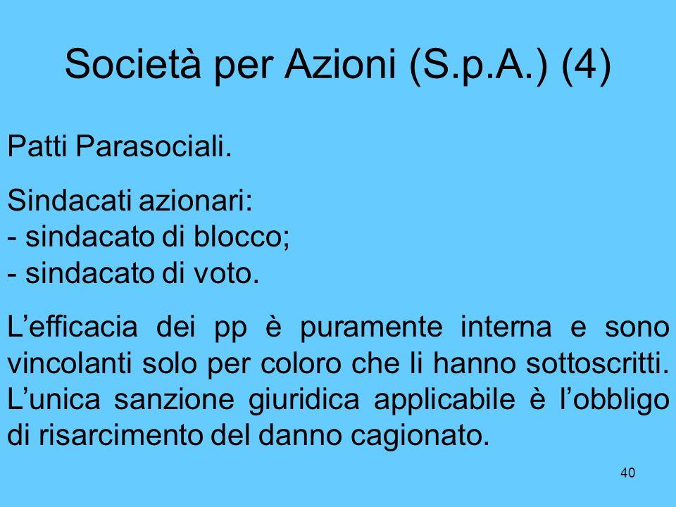 Società per Azioni (S.p.A.) (4)