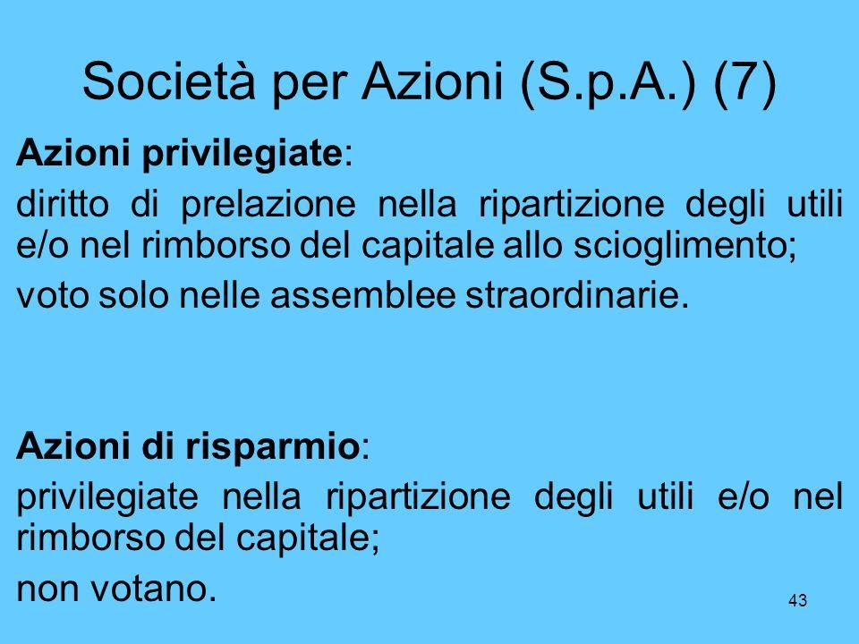 Società per Azioni (S.p.A.) (7)