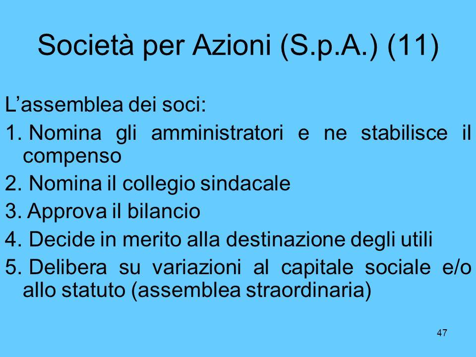 Società per Azioni (S.p.A.) (11)