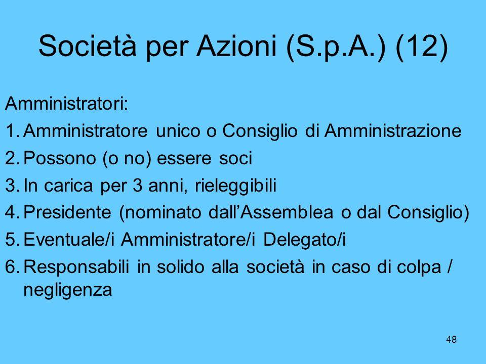 Società per Azioni (S.p.A.) (12)