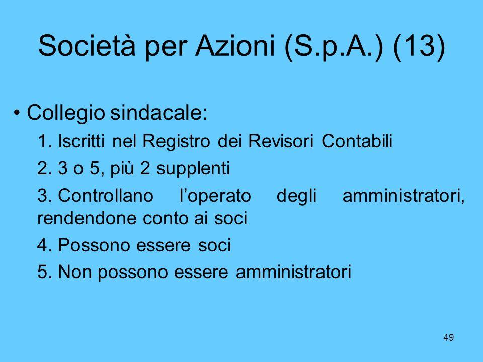 Società per Azioni (S.p.A.) (13)