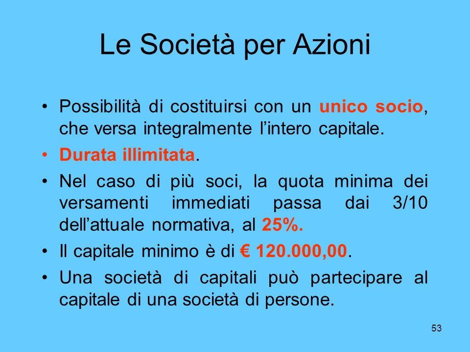 Le Società per Azioni Possibilità di costituirsi con un unico socio, che versa integralmente l'intero capitale.