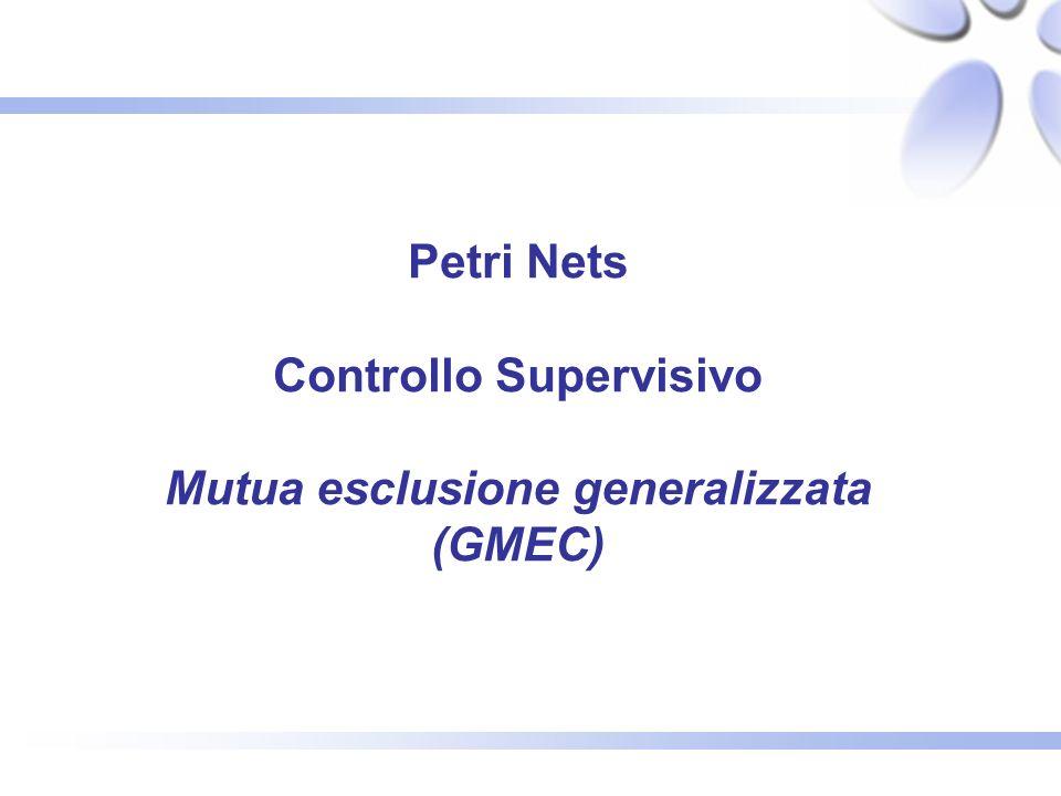Petri Nets Controllo Supervisivo Mutua esclusione generalizzata (GMEC)