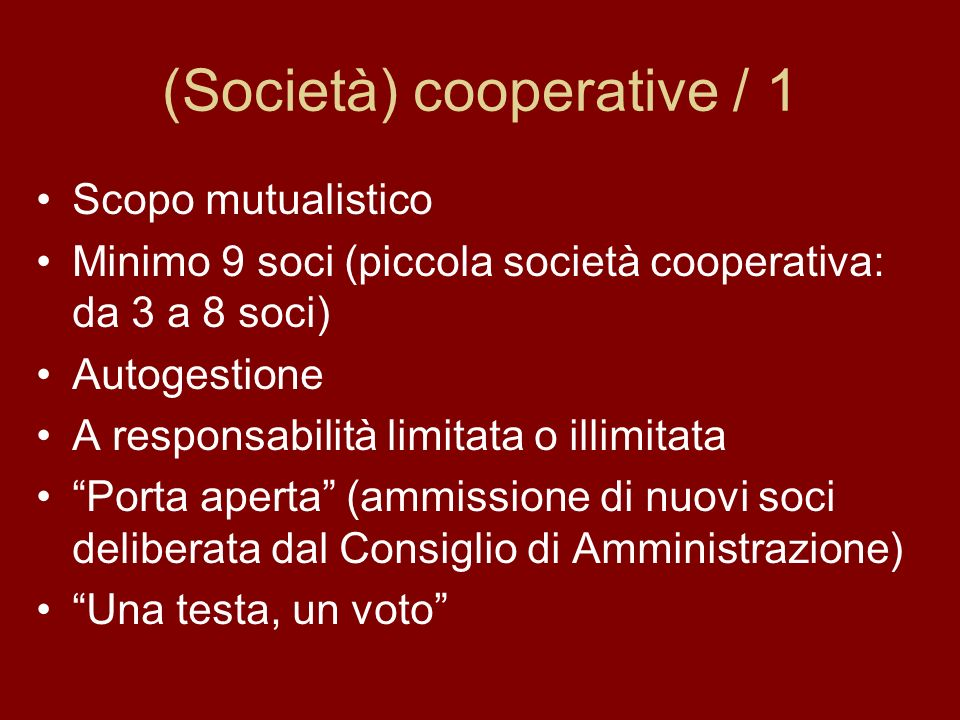 (Società) cooperative / 1