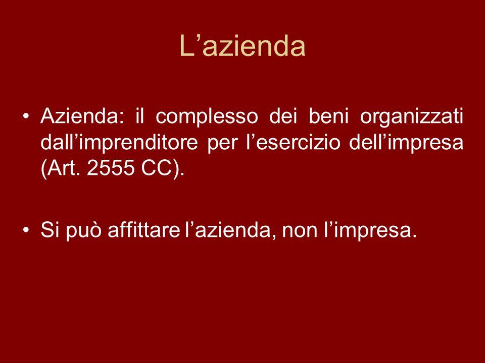 L'azienda Azienda: il complesso dei beni organizzati dall'imprenditore per l'esercizio dell'impresa (Art. 2555 CC).