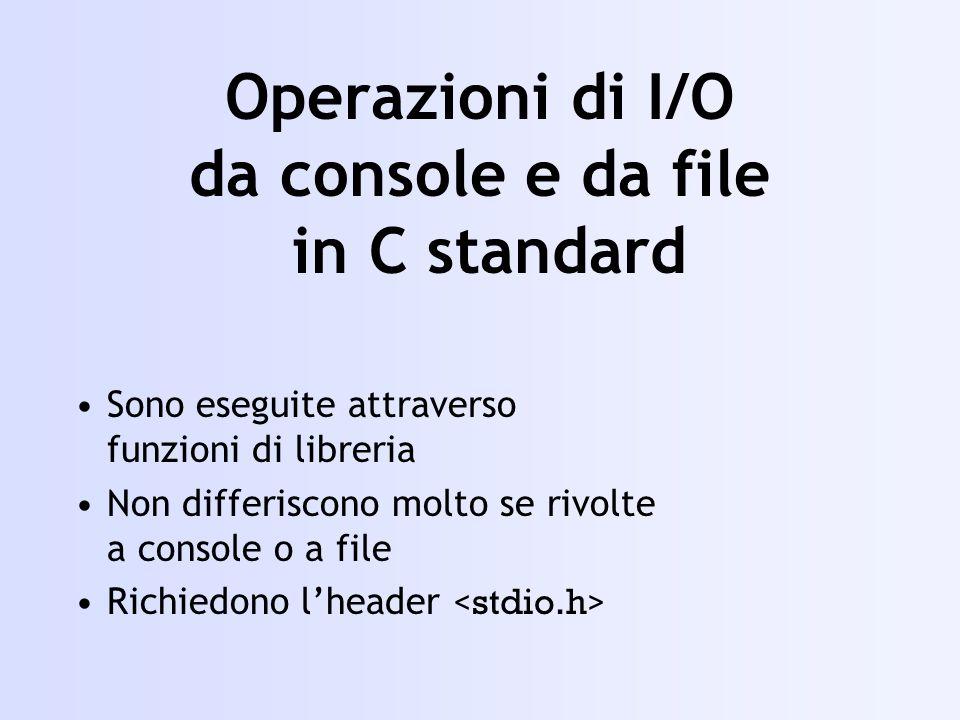 Operazioni di I/O da console e da file in C standard