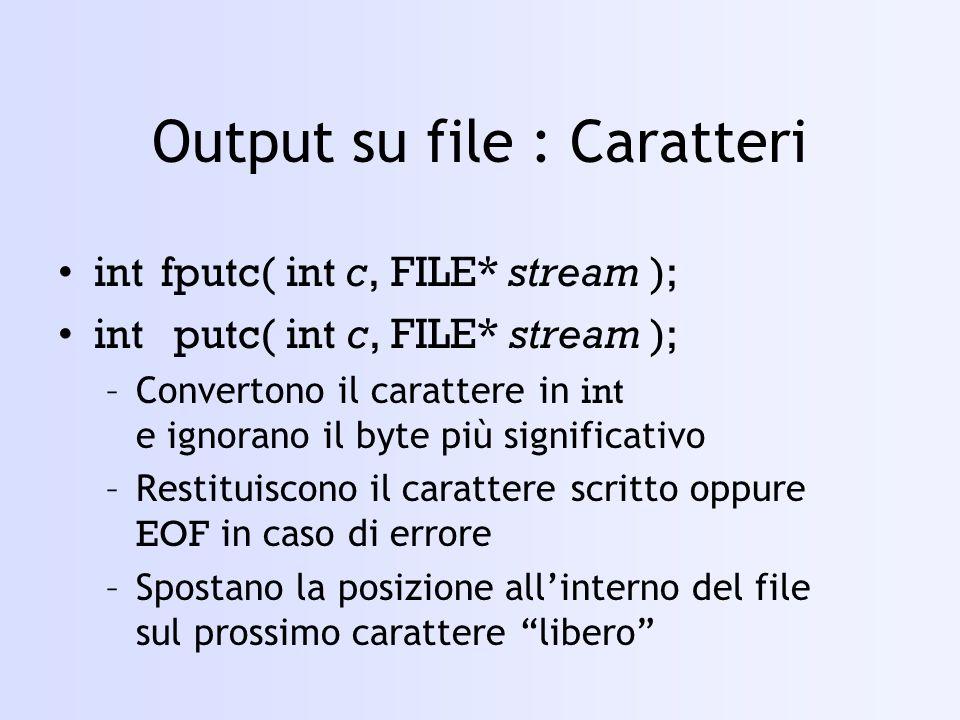 Output su file : Caratteri
