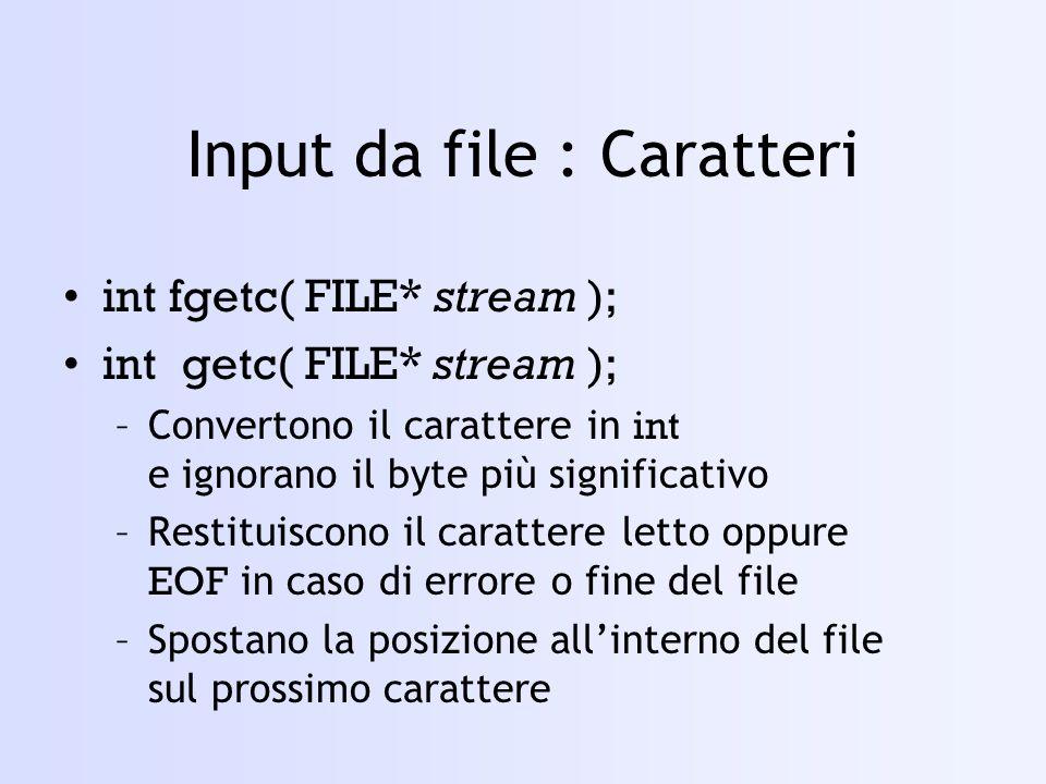 Input da file : Caratteri