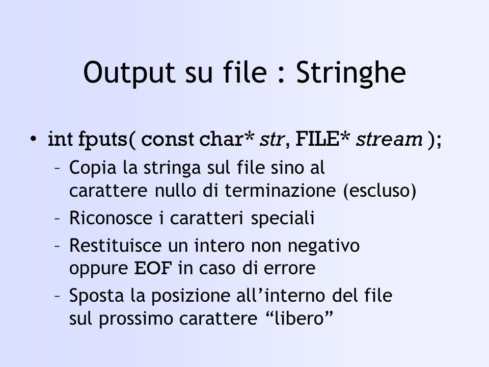 Output su file : Stringhe