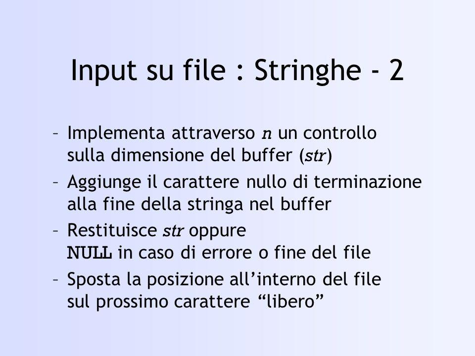 Input su file : Stringhe - 2