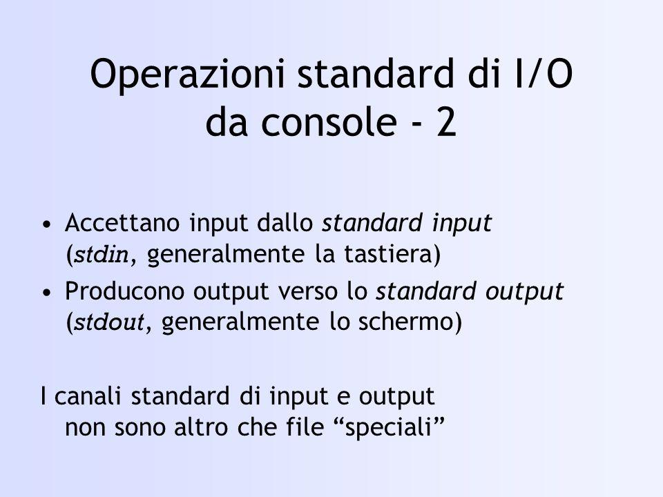 Operazioni standard di I/O da console - 2